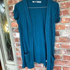 Athleta teal Voyage Wrap cardigan size medium